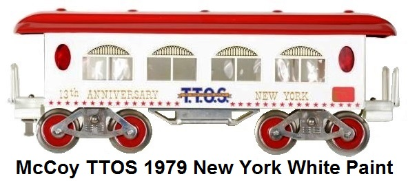 McCoy TTOS 1979 New York Convention Coach in Standard gauge. TTOS passenger cars were usually red & blue. Only 3 of this color choice were produced