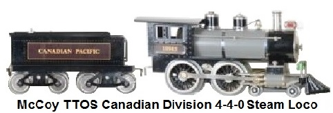 McCoy Standard gauge 4-4-0 steam locomotive marked 10985 tender marked Canadian Pacific in grey with black curved roof, 65 produced