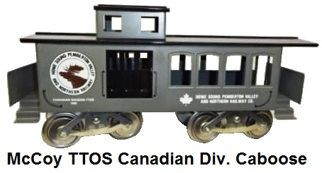 McCoy TTOS Canadian Division Howe Sound, Pemberton Valley & Northern Railway drover caboose in grey, 105 produced