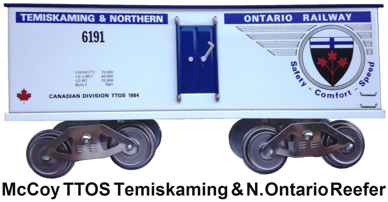 McCoy TTOS Canadian Division Temiskaming & Northern Ontario Railway refrigerator car in white, 115 produced