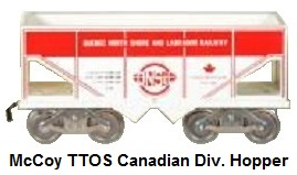 McCoy Standard gauge TTOS Canadian Division Quebec, North Shore & Labrador Railway hopper car in white with red lettering, 109 produced