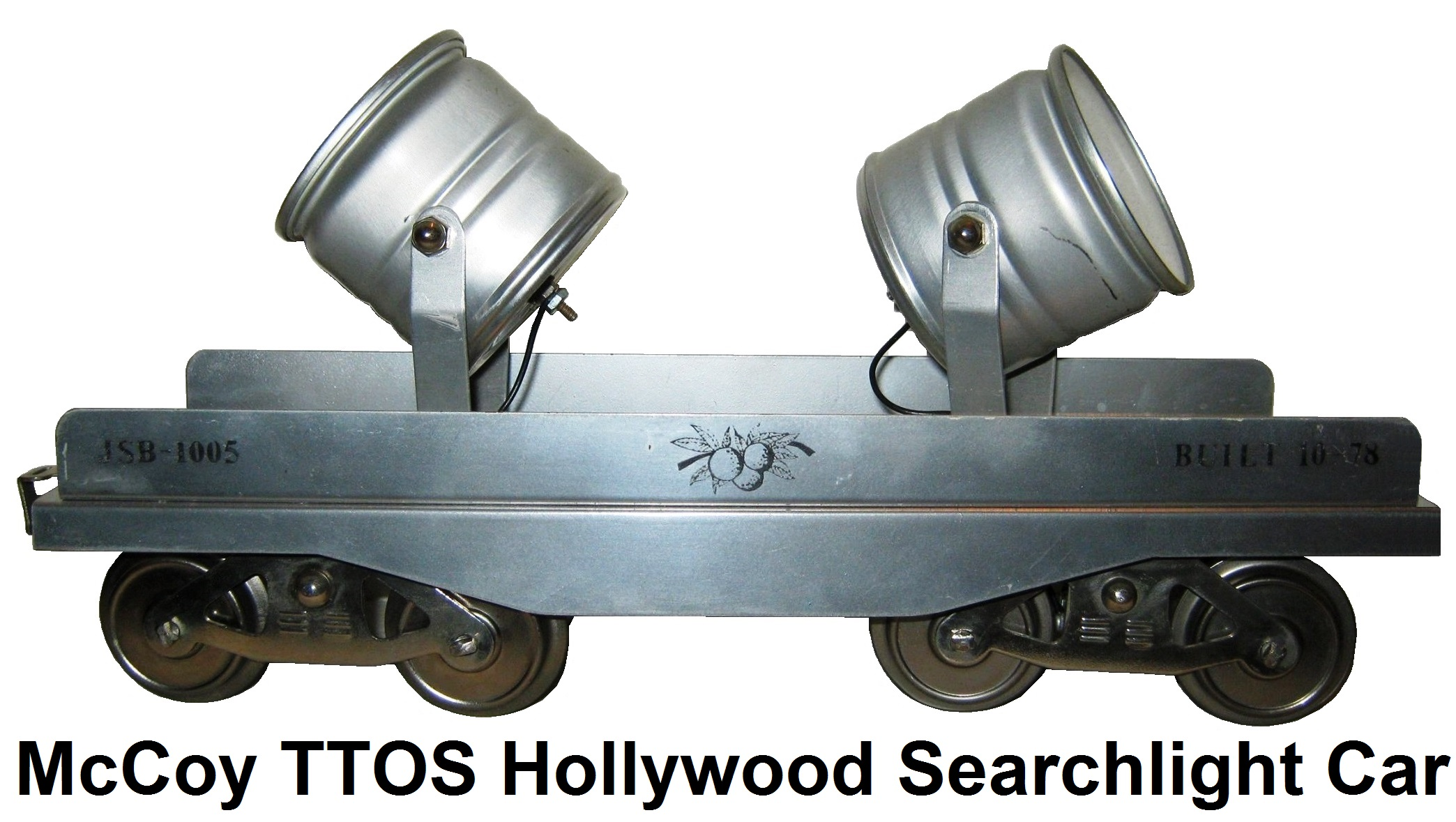 McCoy Standard gauge TTOS 1978 Hollywood searchlight car #JSB-1005 all silver, only 6 produced