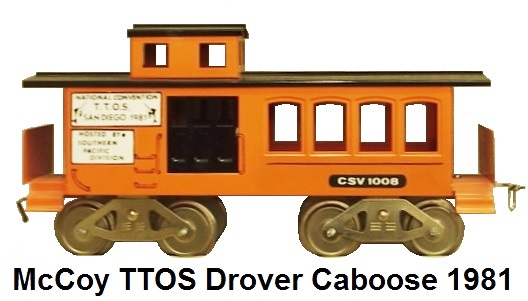 McCoy TTOS 1981 #1008 San Diego Drover caboose - orange body with black doors and roof