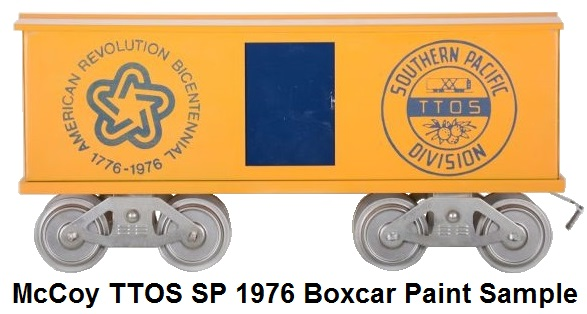 McCoy TTOS Southern Pacific Division Standard Gauge Centennial Boxcar Paint Sample
