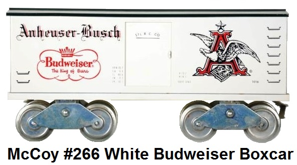 McCoy Standard gauge #266 White Anheuser Busch Budweiser Box car - only 6 examples were produced in white, regular production is light green