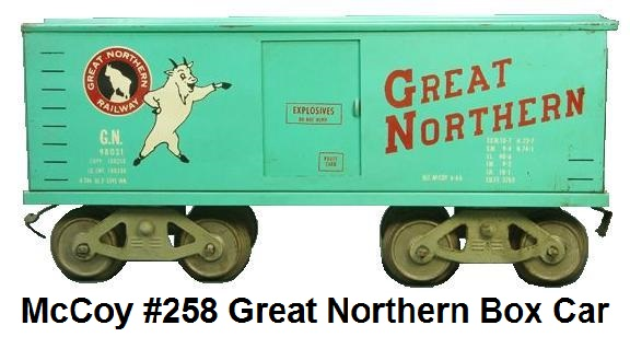McCoy Standard gauge #258 Great Northern box car made 1966-70