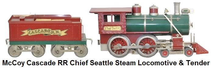 McCoy Cascade RR Chief Seattle 4-4-0 Standard gauge Steam Outline Locomotive and tender