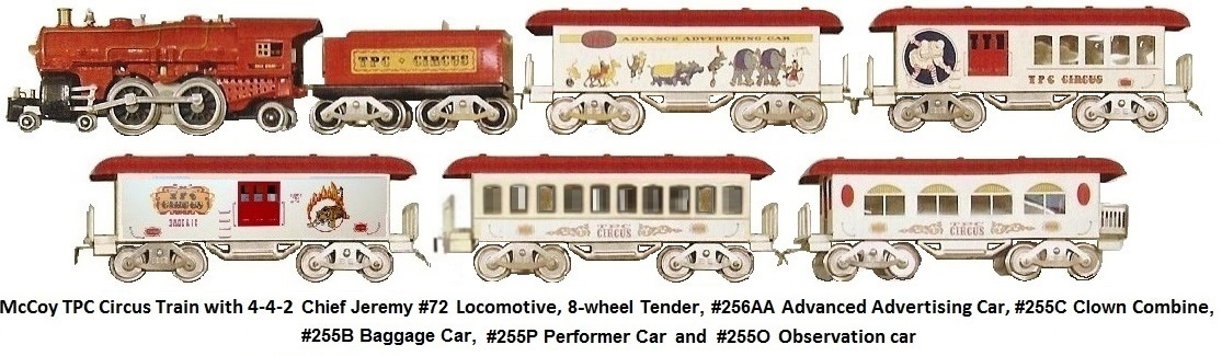 McCoy TPC Circus Train with #72 Chief Jeremy Locomotive and passenger cars in Standard gauge