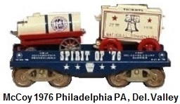McCoy 1976 22nd TCA National Convention Standard gauge Circus Flat car with Ticket & Water Wagons Spirit of '76 Host Delaware Valley Chapter, held in Philadelphia Pennsylvania