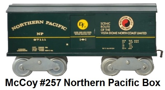 McCoy Standard gauge #257 Northern Pacific box car numbered #67111 made 1966-86