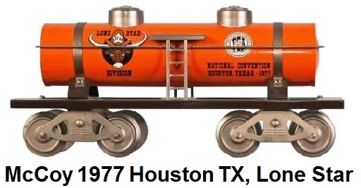 McCoy 1977 23rd TCA Convention Standard gauge 2 dome tank car representing the Lone Star Division in Houston Texas