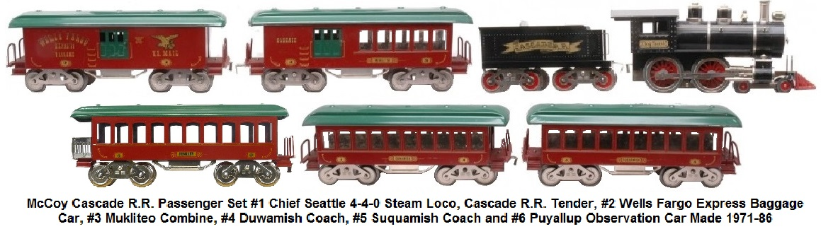 McCoy Cascade RR passenger train Chief Seattle 4-4-0 steam loco, #1 Cascade R.R. tender, #2 Wells Fargo baggage, #3 Mukilteo combo car, #4 Duwamish coach, #5 Suquamish coach, and a #6 Puyallup Observation Car
