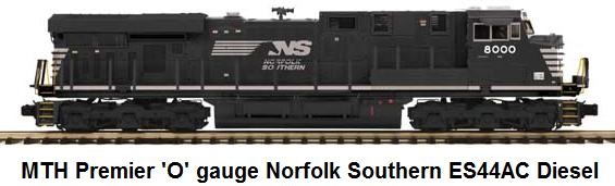MTH Norfolk Southern ES44AC diesel locomotive in 'O' gauge