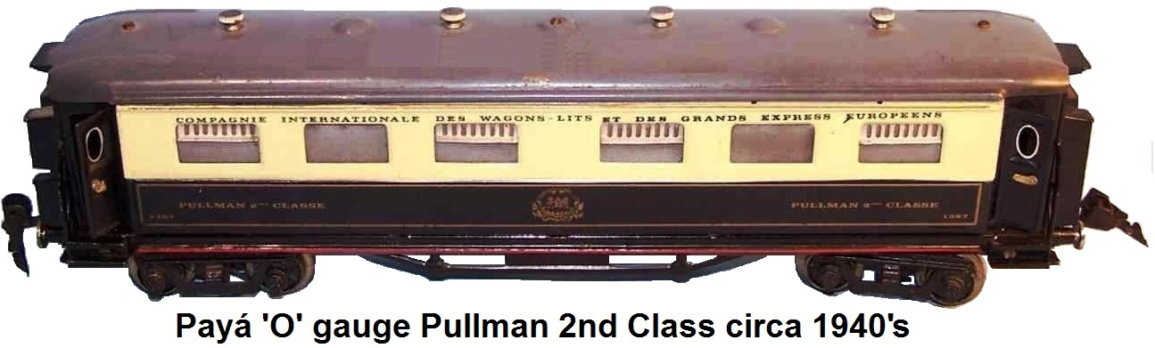 Payá 'O' gauge 35 cm Pullman 2nd class in navy-blue, beige and gray lithographed, lighted, circa 1944