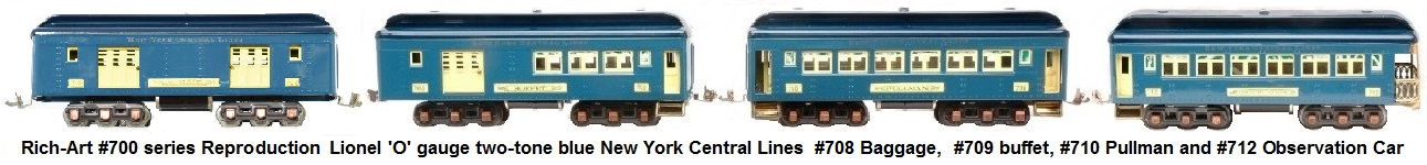 Rich-Art #700 series reproduction of Lionel prewar 'O' gauge two-tone blue New York Central Lines passenger cars with copper journals and 6-wheel trucks including #709 buffet, #710 Pullman and a #712 observation