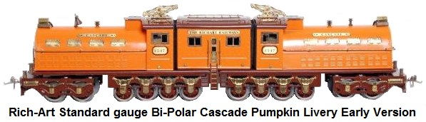 Rich-Art Reproduction Ives Wide gauge Bi-Polar Cascade Electric Centipede Locomotive Pumpkin Livery early version with 4-wheel pilot trucks