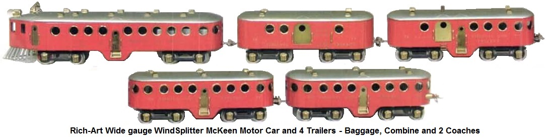 Rich-Art WindSplitter McKeen Motor Car and 4 trailers - baggage, combine and 2 coaches