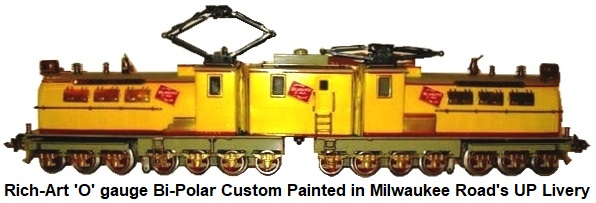 Rich-Art 'O' gauge Bi-Polar custom painted in the Milwaukee Road's version of Union Pacific's livery