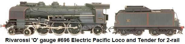 Rivarossi 'O' gauge 2-rail DC electric French Pacific locomotive 231 PLM green and black with smoke protection #696
