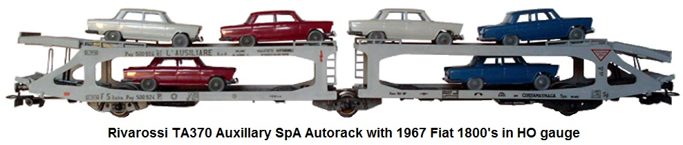 Rivarossi TA370 Autorack The Auxiliary SpA type Pay with Fiat 1800 - 1967 in HO gauge