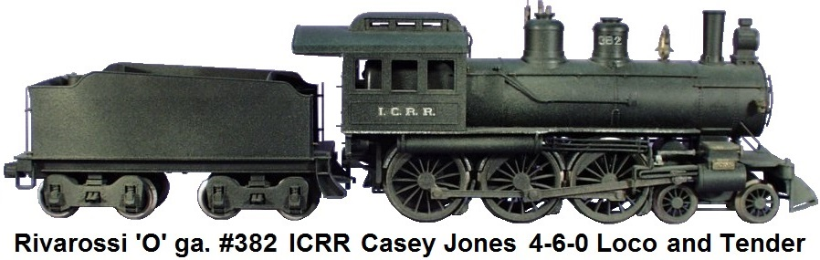 '0' gauge 2-rail Rivarossi for AHM 'Casey Jones' type American 4-6-0 loco in Illinois Central RR markings running #382