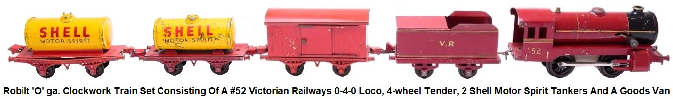 Robilt 'O' gauge tinplate clockwork steam train set with a VR 0-4-0 loco, 4-wheel tender, 2 Shell Tankers and red goods van