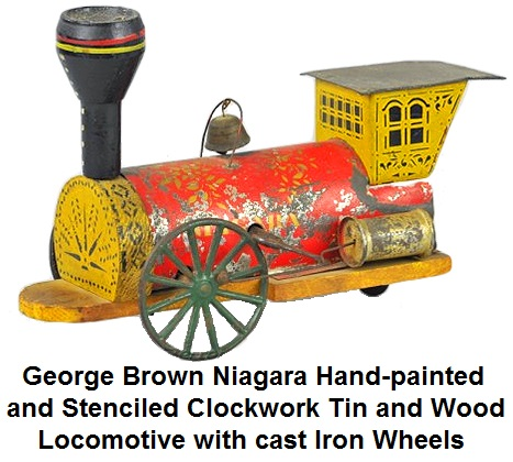 George W. Brown Niagara hand painted and stenciled clockwork tin and wood locomotive with cast iron wheels, 10 inches long, circa 1860
