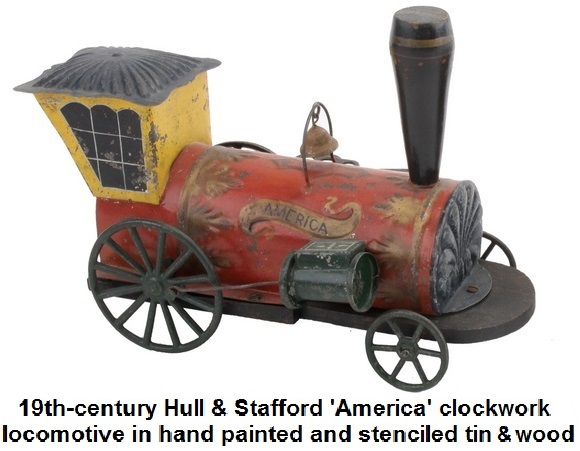 19th-century Hull & Stafford 'America' clockwork locomotive, painted and stenciled tin and wood