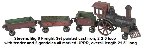 J. & E. Stevens Big 6 cast iron floor Freight Set painted cast iron, 2-2-0 loco with tender and 2 gondolas all marked UPRR 21.5 inches overall length circa 1880's