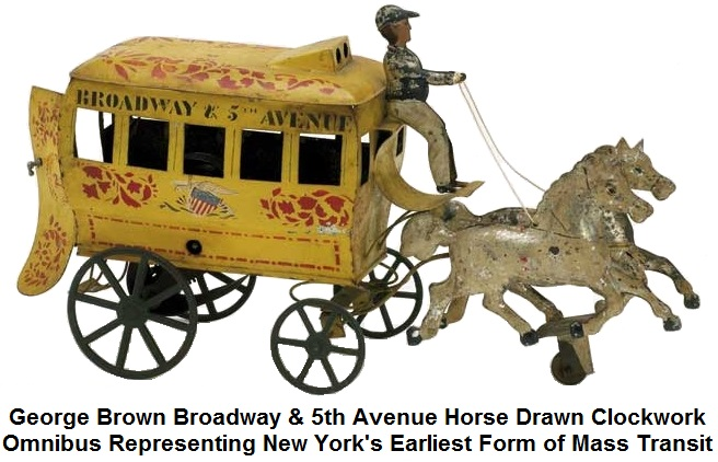 George Brown Broadway & 5th Avenue Horse Drawn Clockwork Omnibus Representing New York City's Earliest Form of Mass Transit