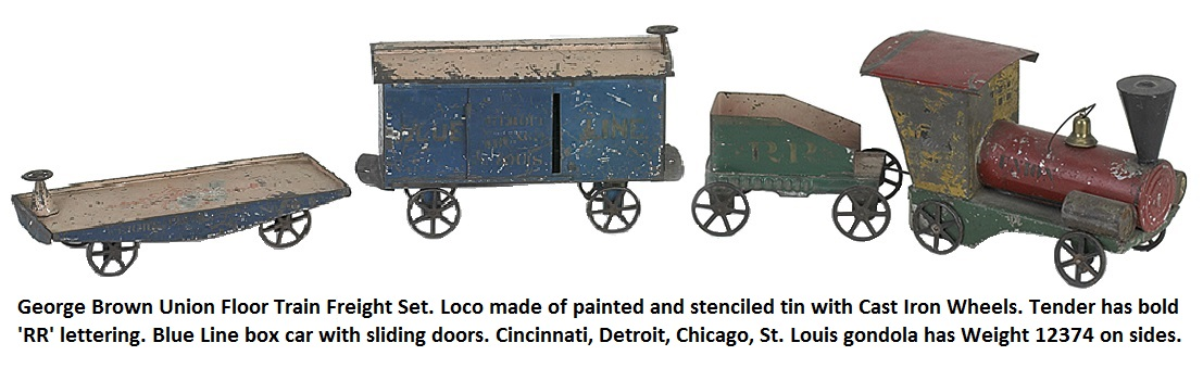 George W. Brown Union Floor Train Freight Set. Loco painted & stenciled tin with cast iron wheels, tender with bold lettering RR, Blue Line box car with sliding doors Cincinnati, Detroit, Chicago, St. Louis  gondola has Weight 12374 on sides