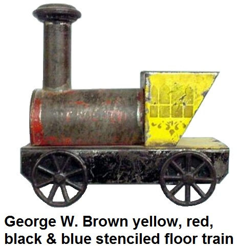 George W. Brown floor toy train with original, worn yellow, red, black, and blue paint, stenciled windows