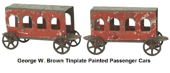 George W. Brown tinplate painted passenger cars with cast iron wheels