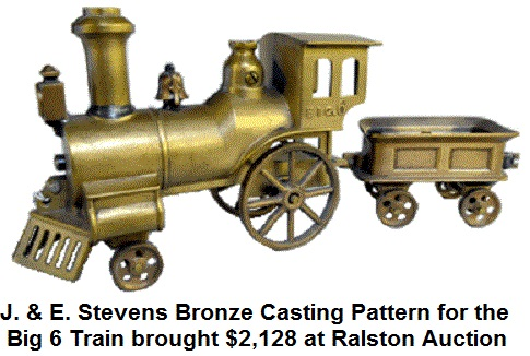 J. & E. Stevens bronze casting pattern for the Big 6 train set