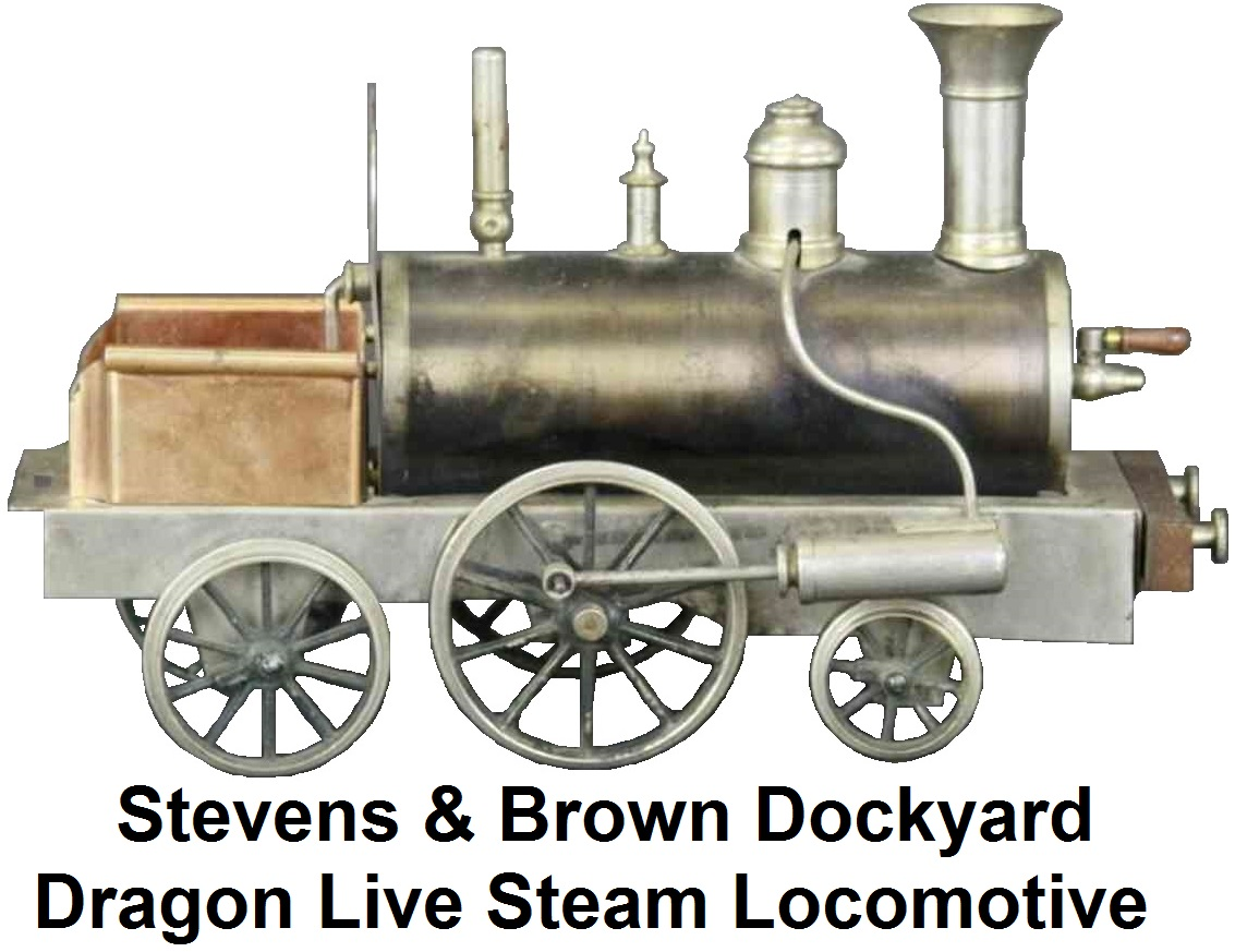 Stevens & Brown Dockyard Dragon live steam locomotive made of brass and nickeled tin