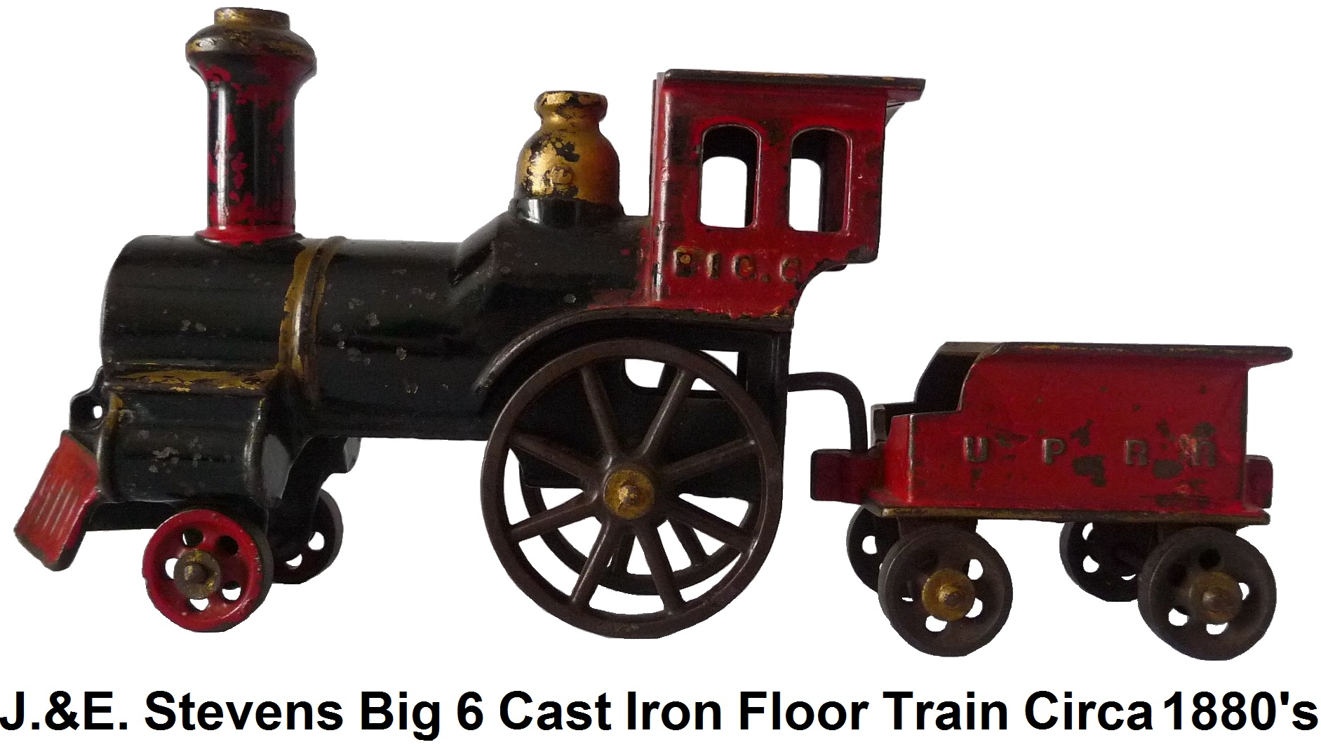 J. & E. Stevens Big 6 cast iron floor train circa 1880's