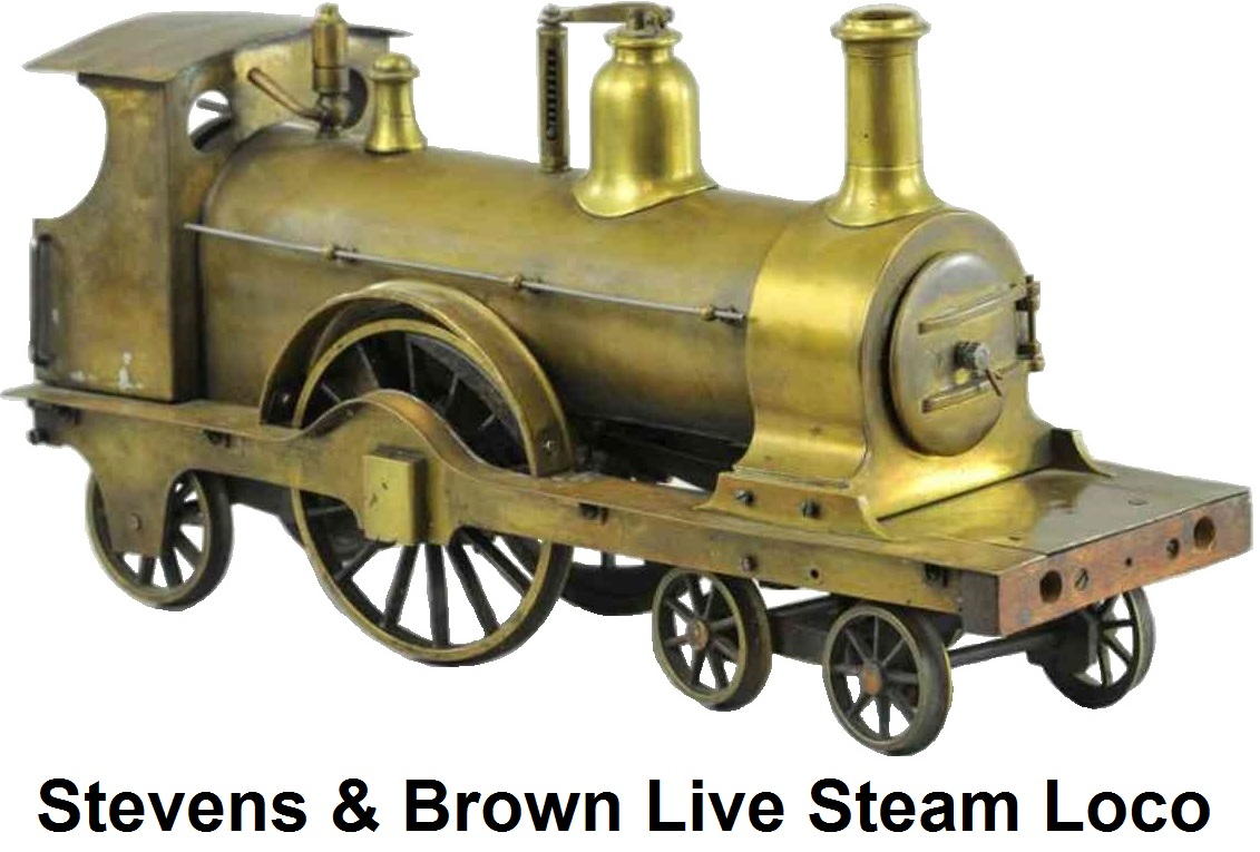 Stevens & Brown 4-2-2 live steam brass locomotive from the 1890's