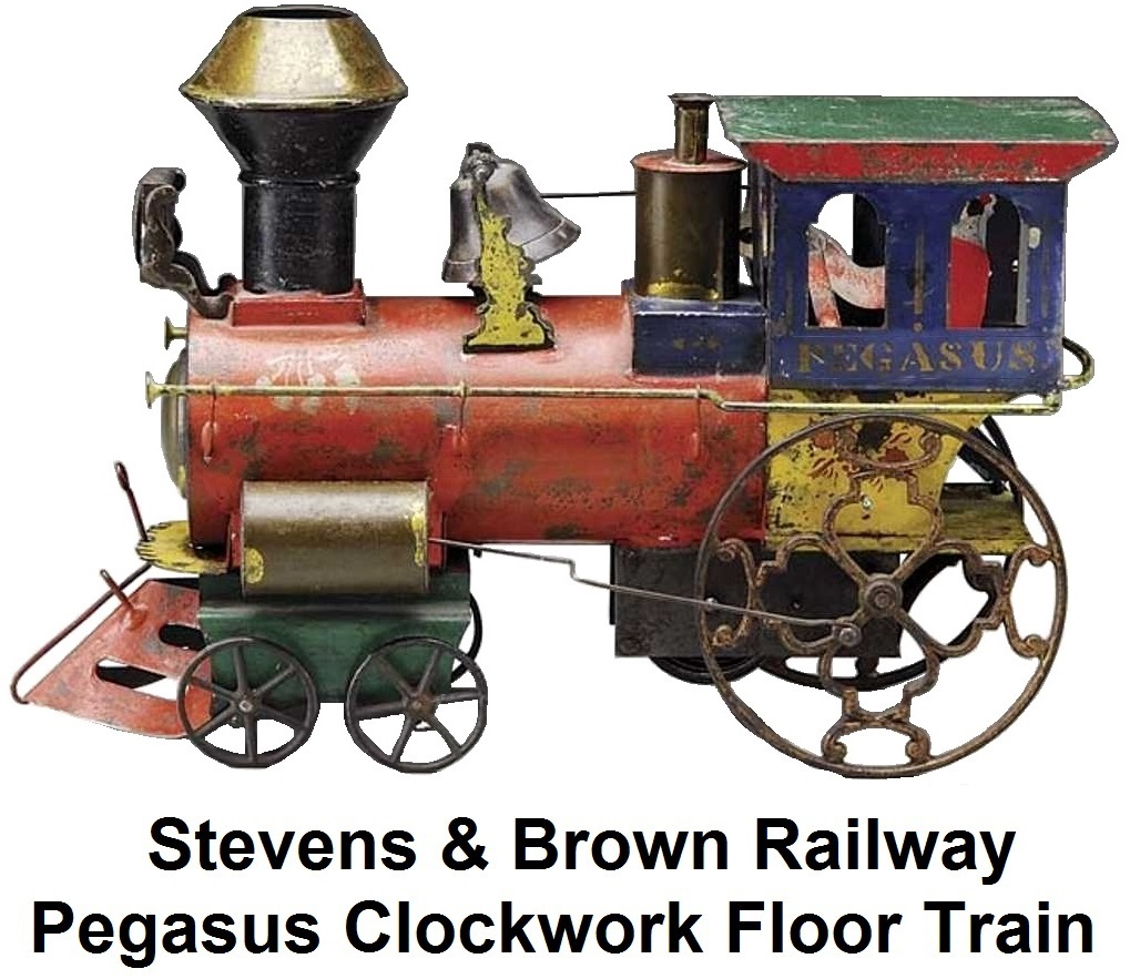 Stevens & Brown Railway Tinplate Pegasus clockwork engine Floor Train