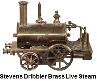Stevens Dribler live steam brass locomotive from the 1890's