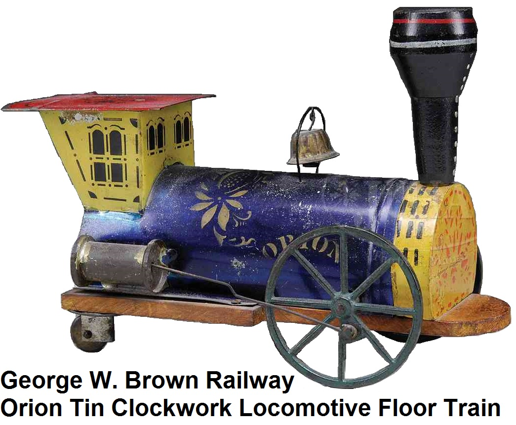 George W. Brown Railway Orion tin and wood clockwork engine floor train
