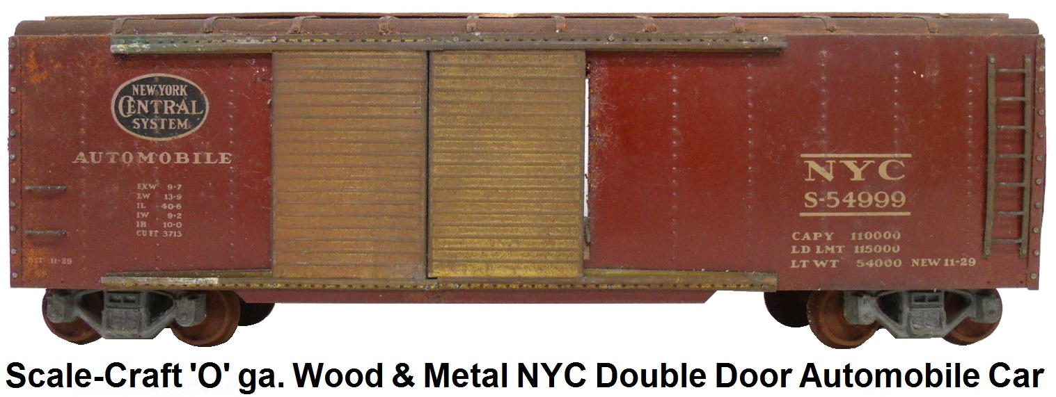 Scale-Craft 2 Rail 'O' Scale kit-built Wood and Metal NYC Double Door Automobile Car