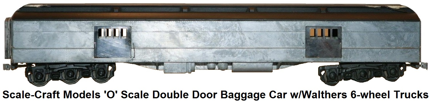 Scale-Craft Models 'O' scale Double Door Baggage Car with Walthers 6-wheel trucks