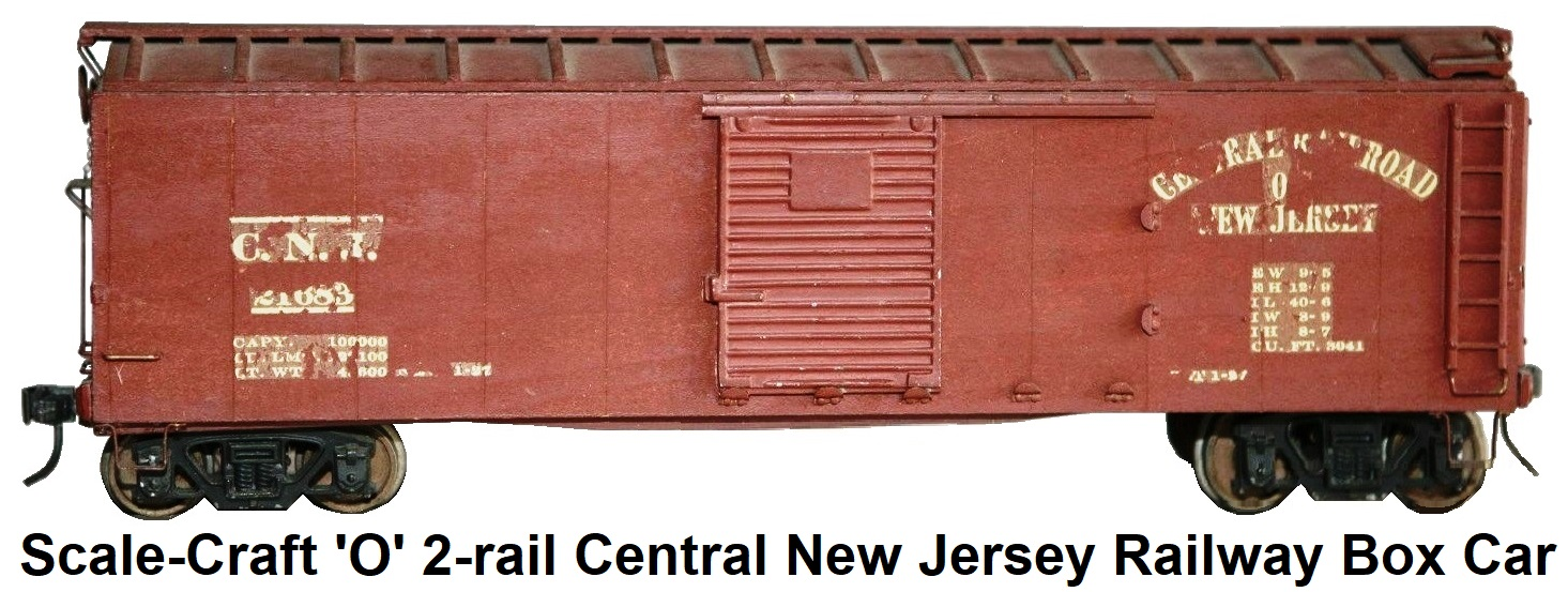 Scale-Craft 'O' scale 2-rail Central New Jersey Railway Box Car