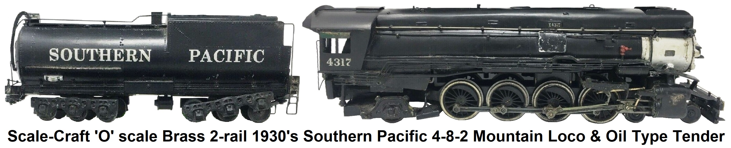 Scale-Craft 1930's Mountain 4-8-2 2-rail Brass 'O' scale Southern Pacific loco and 12-wheel tender