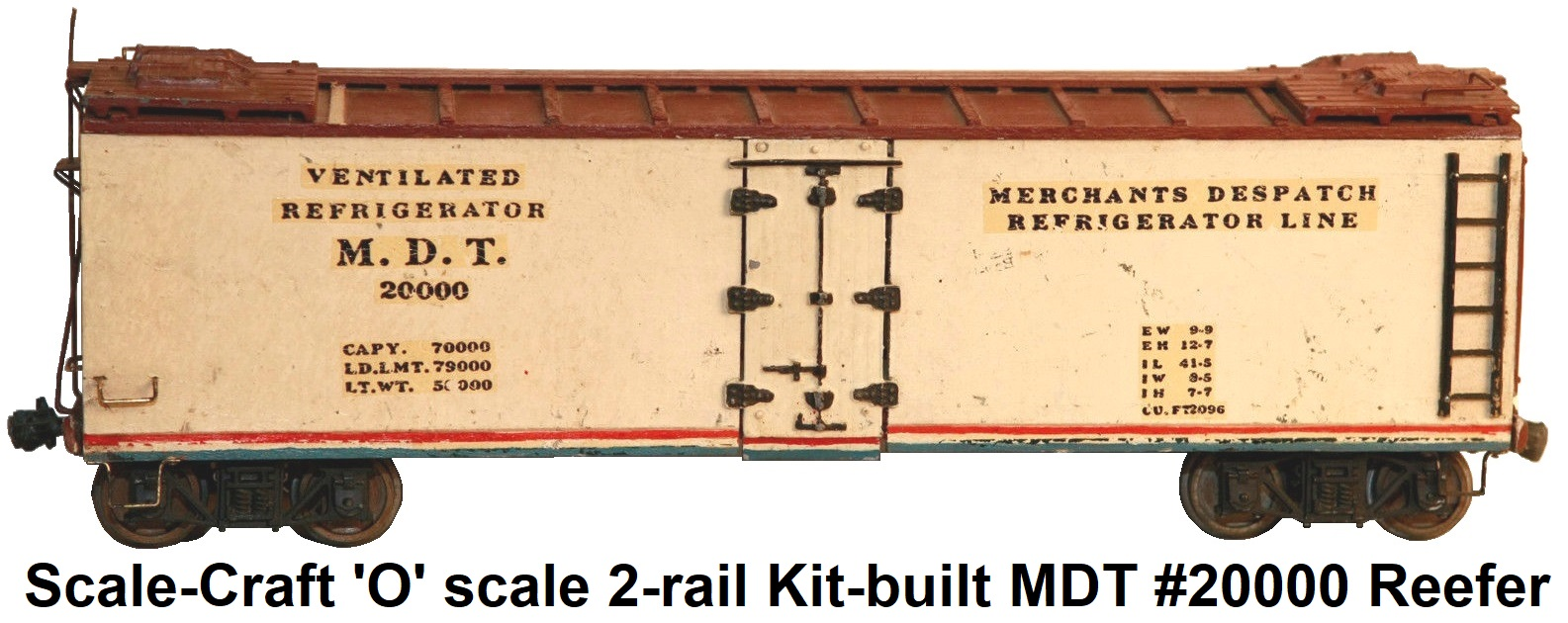 Scale-Craft 'O' scale Kit-built MDT #20000 Reefer 2-rail