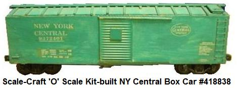 Scale-Craft 'O' Scale Kit-built #9372401 New York Central Box Car catalog #418838