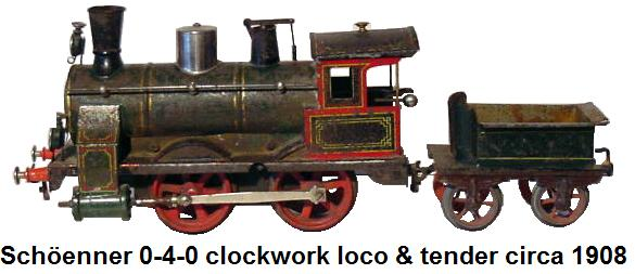 Schöenner circa 1908 0-4-0 clockwork engine