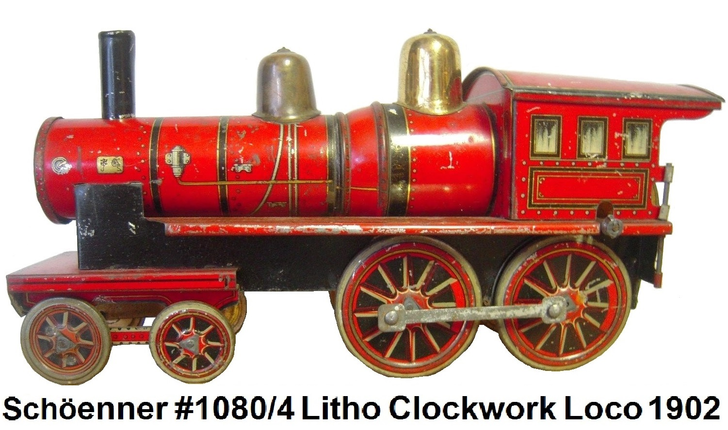 Schöenner #1080/4 lithographed clockwork locomotive 1902 era