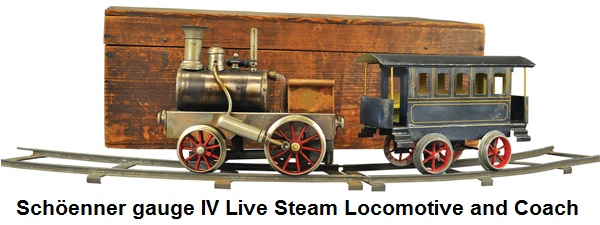 Schöenner gauge IV live steam locomotive and coach