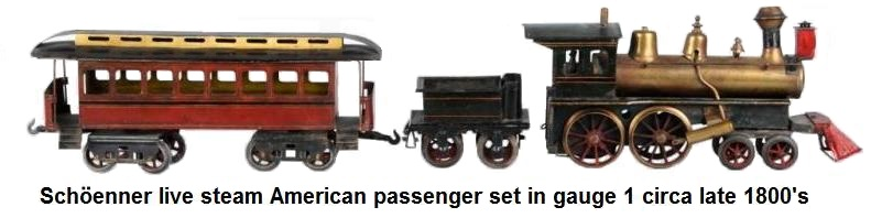 Sch�enner American Passenger Set includes early American style 4-4-0 locomotive with four-wheel tender and eight-wheel passenger coach. All hand painted. Circa 1902. Live steam spirit fired.